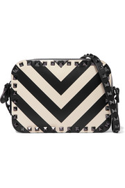 Valentino Garavani The Rockstud striped leather shoulder bag