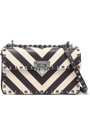 Valentino Valentino Garavani The Rockstud striped leather shoulder bag