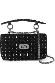 Valentino Garavani The Rockstud Spike small quilted velvet shoulder bag
