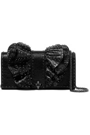Valentino Valentino Garavani studded cracked-leather shoulder bag
