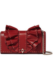 Valentino Garavani Very V studded ruffled leather shoulder bag