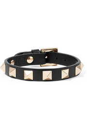 Valentino Valentino Garavani The Rockstud leather and gold-tone bracelet