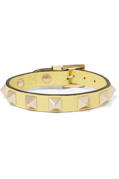 Valentino Valentino Garavani The Rockstud Leather And Gold-tone Bracelet - Red