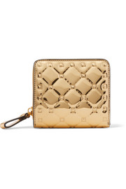 Valentino Garavani The Rockstud Spike embossed mirrored-leather wallet