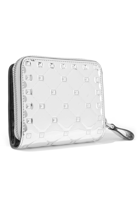 Valentino Valentino Garavani The Rockstud Spike quilted metallic patent-leather wallet