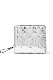 Valentino Valentino Garavani The Rockstud Spike quilted metallic patent-leather wallet