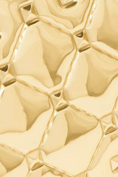 Valentino Garavani The Rockstud Spike Embossed Mirrored-leather Cardholder - Gold Valentino iGE3R0JKo