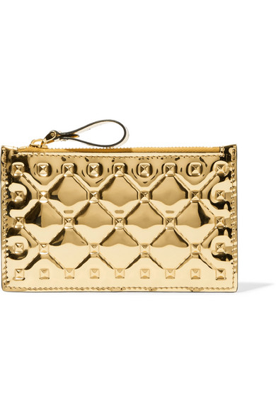 Valentino Garavani The Rockstud Spike Embossed Mirrored-leather Cardholder - Gold Valentino B1oQ8fr1i