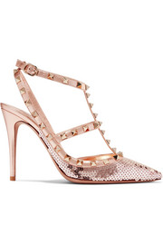 Valentino Valentino Garavani The Rockstud sequined metallic leather pumps