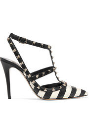 Valentino Valentino Garavani The Rockstud striped leather pumps