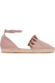Valentino Garavani studded ruffled leather espadrilles