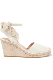 Valentino Garavani studded ruffled textured-leather espadrille wedge sandals