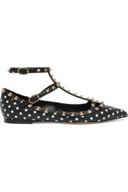 Valentino Valentino Garavani The Rockstud polka-dot leather point-toe flats