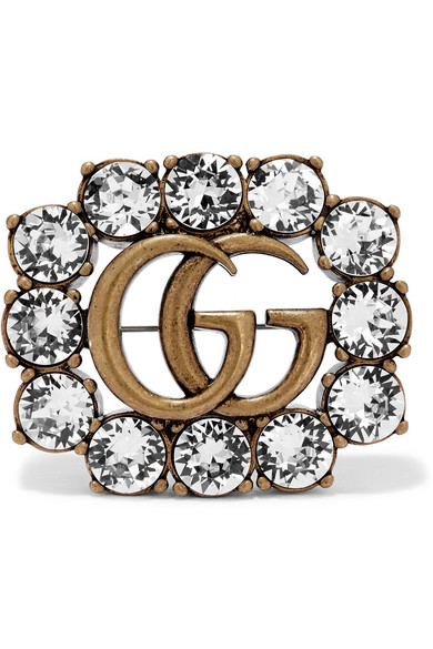 Metal Double G Brooch With Crystals in Gold