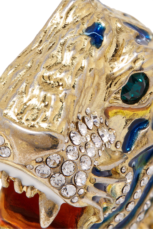 Gucci Vergoldete Brosche mit Kristallen und Emaille