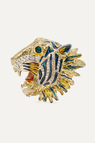 Gold-Plated, Crystal And Enamel Brooch