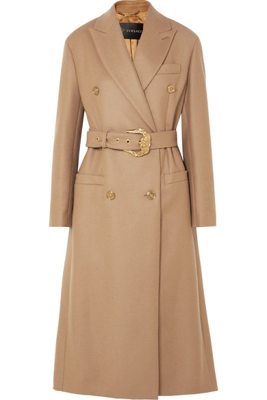 Versace - Belted Double-breasted Wool Coat - Camel