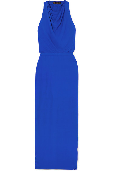Hooded Crepe Maxi Dress in Blue