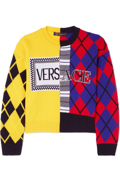 Versace - Paneled Printed Intarsia Wool-blend Sweater - Yellow