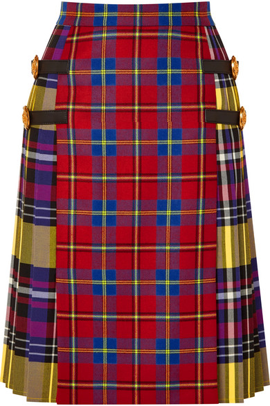 Leather-Trimmed Tartan Wool Skirt in Multicolour
