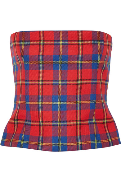Versace - Tartan Wool Bustier Top - Red
