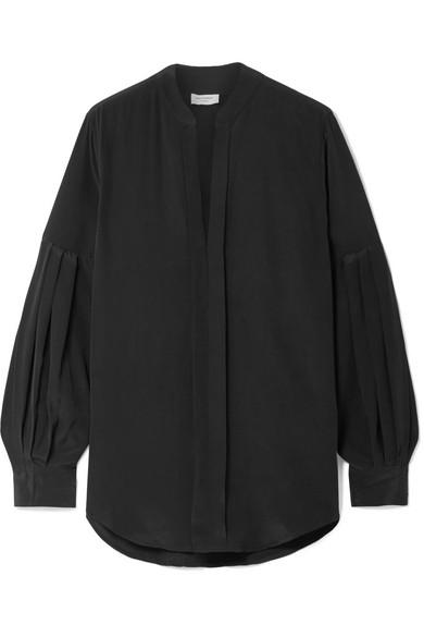 Estella Pleated Washed-Silk Blouse, Black