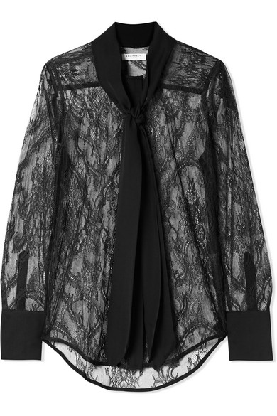 Luis Pussy-Bow Silk-Trimmed Lace Blouse, Black