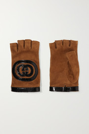 Patent leather-trimmed suede fingerless gloves
