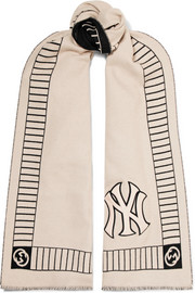 Gucci + New York Yankees appliquéd intarsia wool scarf