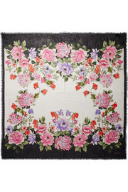 Gucci Fringed floral-print modal and silk-blend scarf