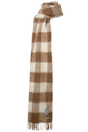 Gucci Fringed checked knitted scarf
