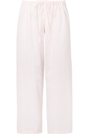 Striped cotton-voile pajama pants