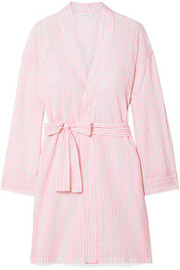 Striped cotton-voile robe