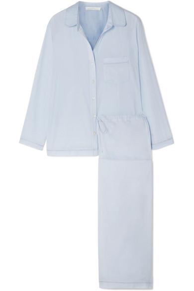 Pour Les Femmes - Cotton-voile Pajama Set - Sky blue