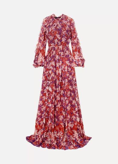 Giambattista Valli - Ruffled Floral-print Silk-georgette Gown - Violet