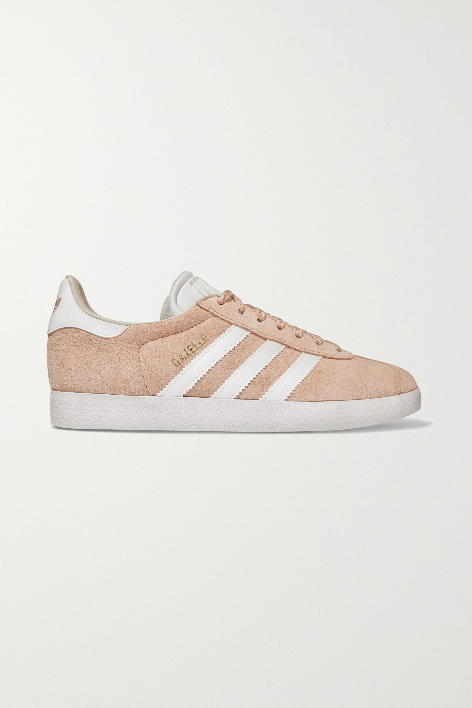 Pastel pink Gazelle suede and leather