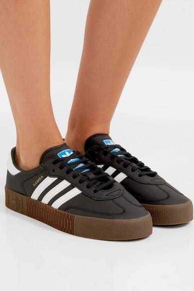 99ab8757f46ef7 adidas Originals. Samba Rose textured-leather platform sneakers