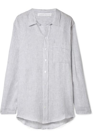 Pour Les Femmes - Striped Linen Pajama Shirt - Gray