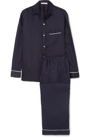 Pour Les Femmes - Linen Pajama Set - Navy