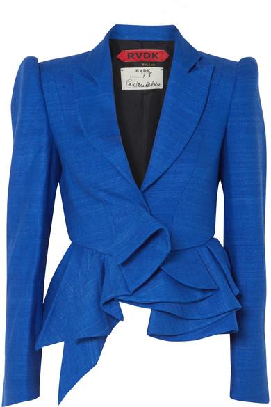 Ronald van der Kemp - Asymmetric Textured-silk Peplum Blazer - Blue