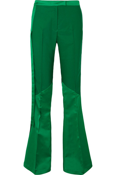 RONALD VAN DER KEMP Paneled Satin And Stretch-Crepe Flared Pants in Green