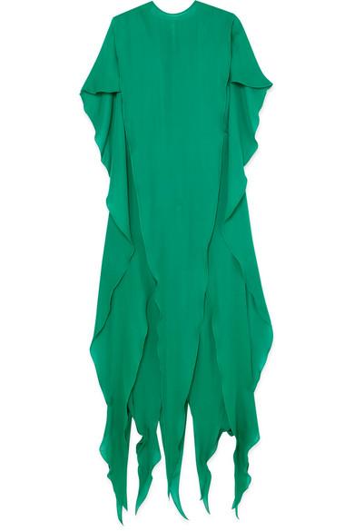 Ronald van der Kemp - Butterfly Draped Silk-chiffon Gown - Green