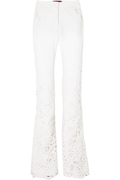 Ronald Van Der Kemp LACE-PANELED HIGH-RISE FLARED JEANS