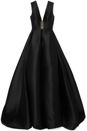 Alex Perry Axel tulle-trimmed pleated duchesse silk-satin gown