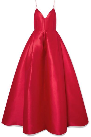 Alex Perry - Alder Pleated Duchesse Silk-satin Gown - Red