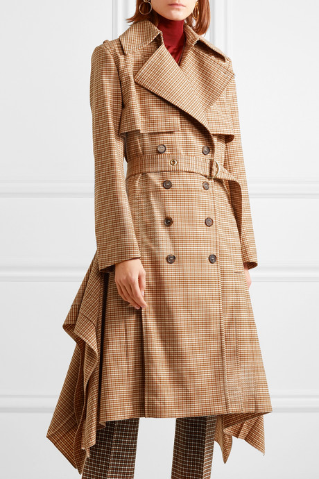 Draped checked woven trench coat