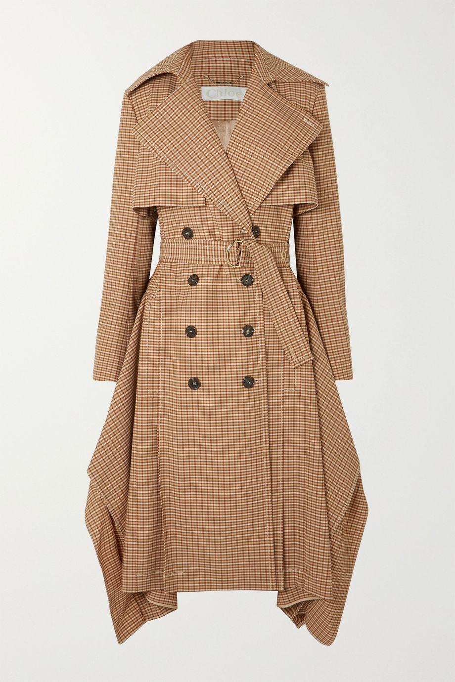 Chloé Draped checked woven trench coat