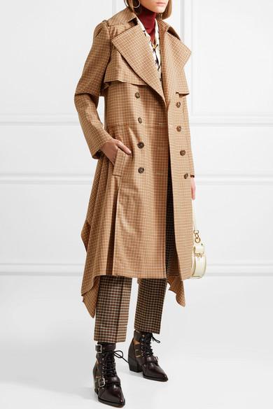 Chloé A coat à Trench tressé NET COM carreaux drapé PORTER w0wrvxqSBP