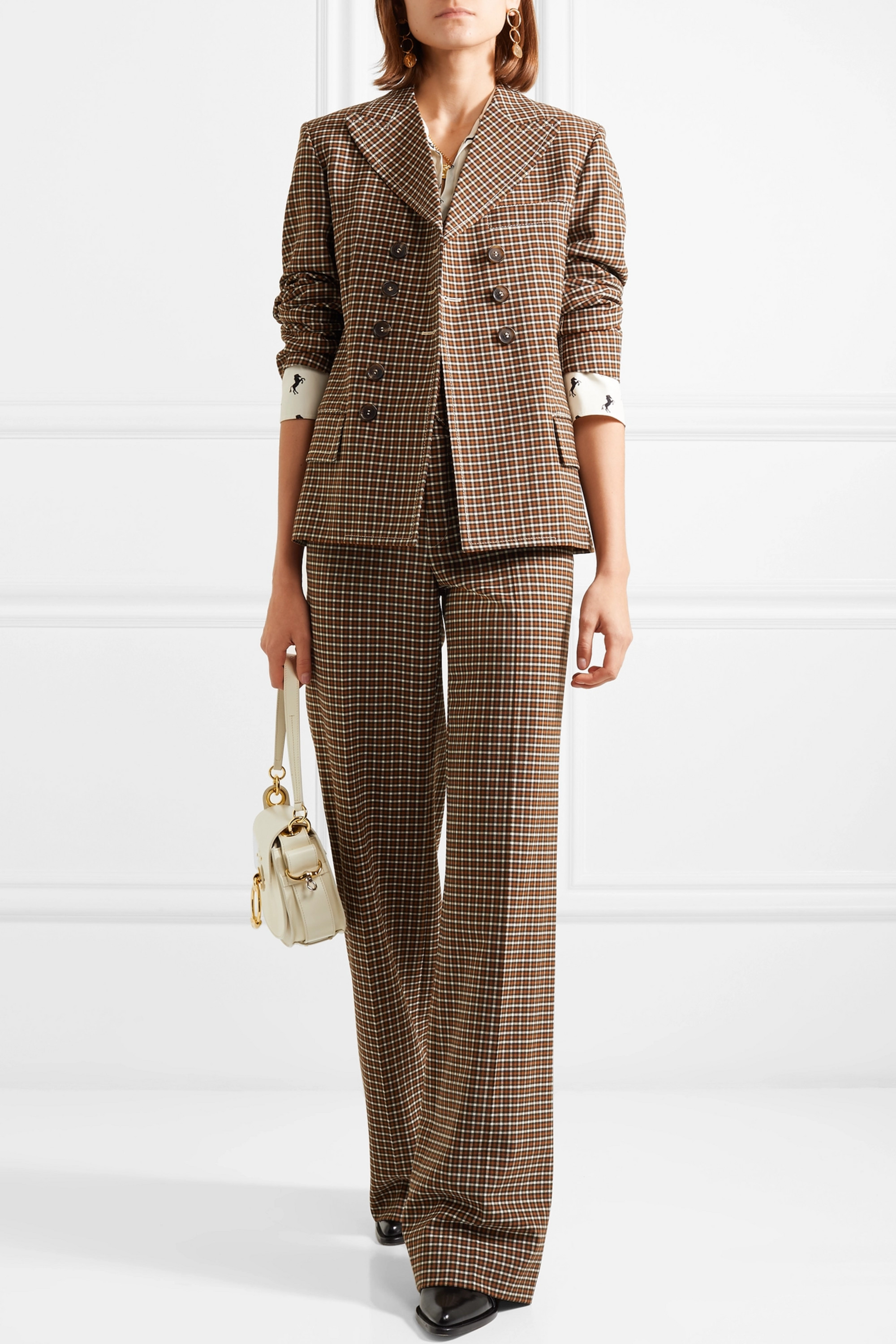 Chloé Belted double-breasted checked woven blazer