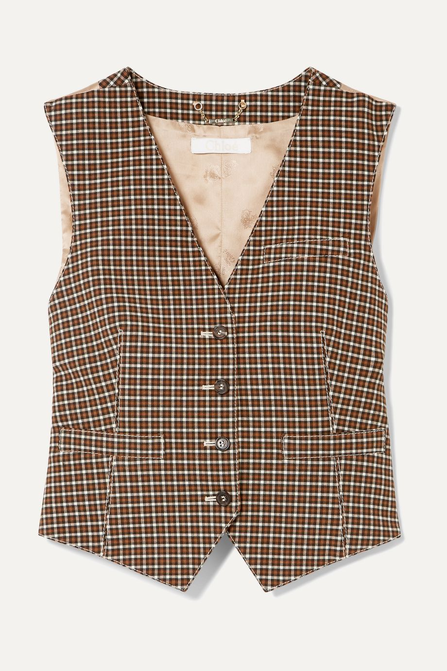 Chloé Checked woven and satin-jacquard vest